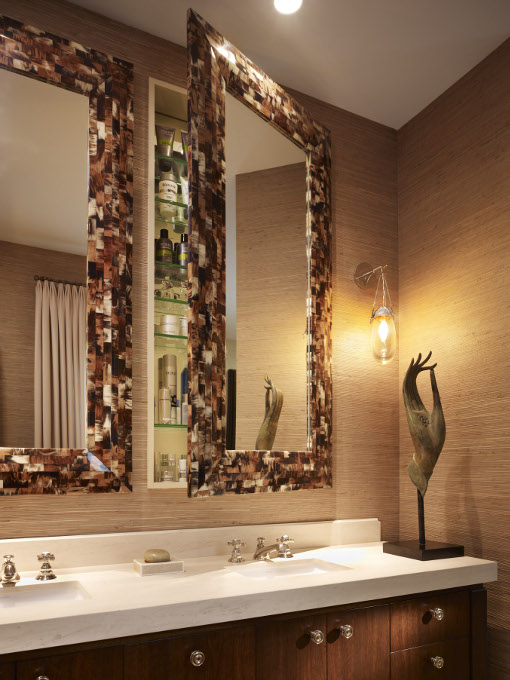 Custom Designed Bathroom With Horn Framed Swing Mirrors
