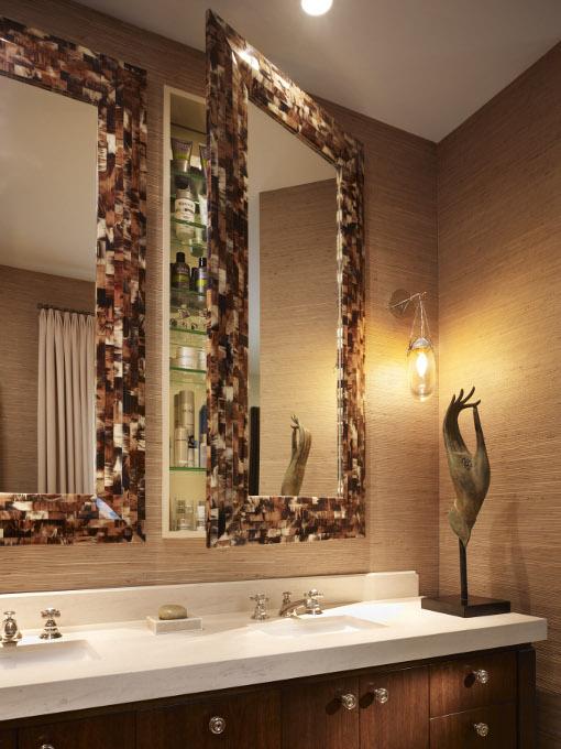 Custom Designed Bathroom With Horn Framed Swing Mirrors
