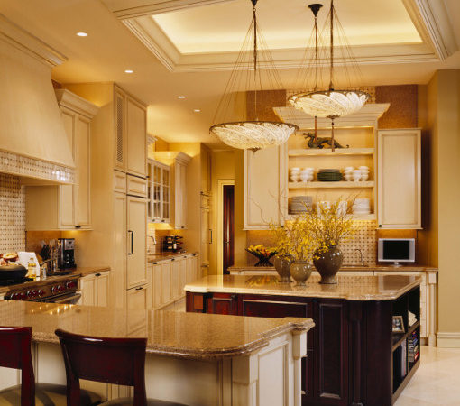 Interior Kitchen Design Featuring Mahogany Finish