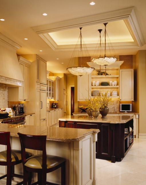 Interior Kitchen Design Featuring Mahogany Finish