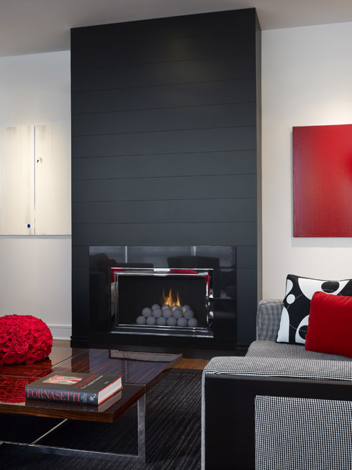 Interior Living Room Design Dramatic Black Glass Fireplace