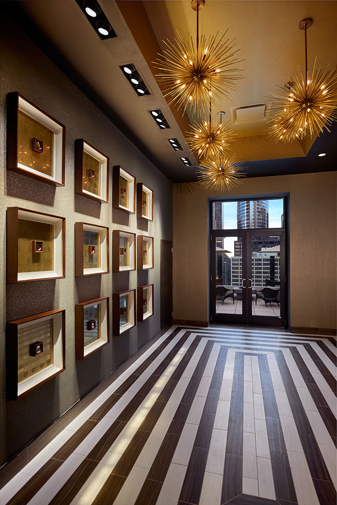 Square wall decorations and hallway design with brown motif